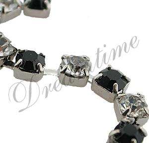 Swarovski Rhinestone Chain Jet/Crystal Silver PP24