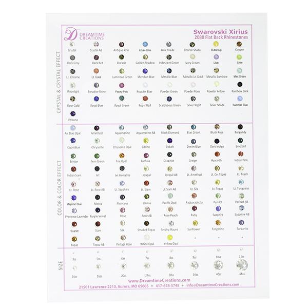245c7627a73 Swarovski 2088 Rhinestones Flatback, Color Chart | Dreamtime Creations