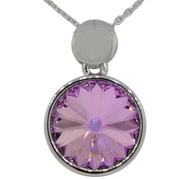 "16"" Necklace with 18mm Swarovski Crystal Vitrail Light Rivoli Pendant"