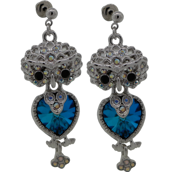 """1-5/8"""" Owl Dangle Earring with crystals from Swarovski"""