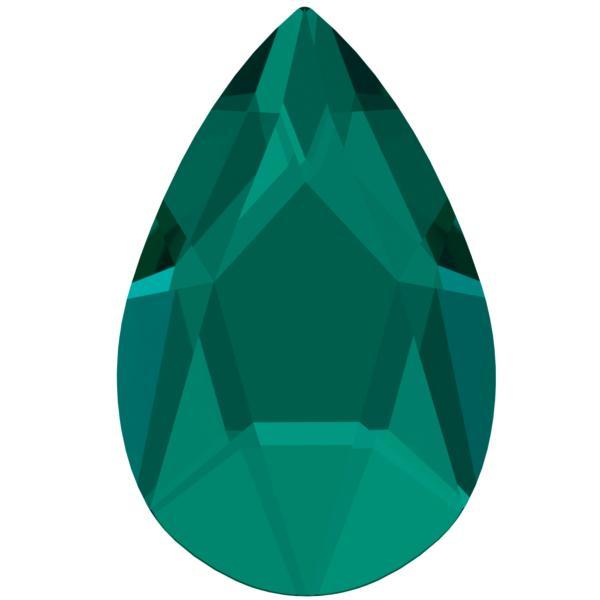 Swarovski 2303 Pear Shaped Hotfix Emerald 14x9mm