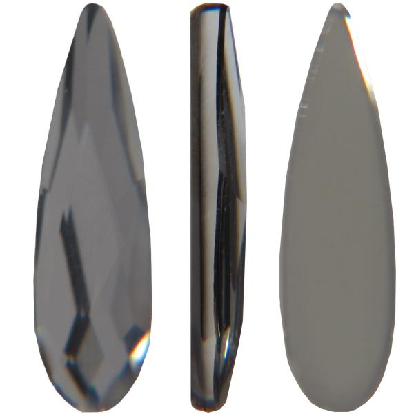 Swarovski 2304 Raindrop Flat Back Crystal Silver Night 6x1.7mm