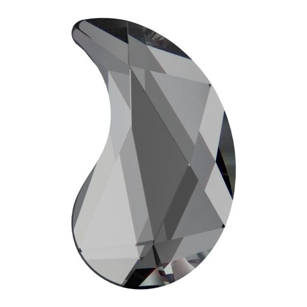 Swarovski 2365 Paisley Y HotFix Crystal Silver Night 6x3.7mm