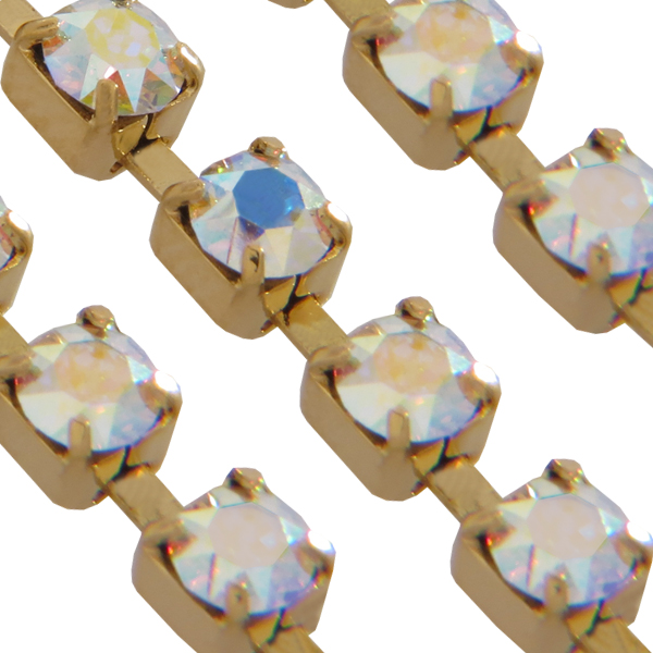 Swarovski 27104 Rhinestone Chain pp14 Crystal AB/Gold