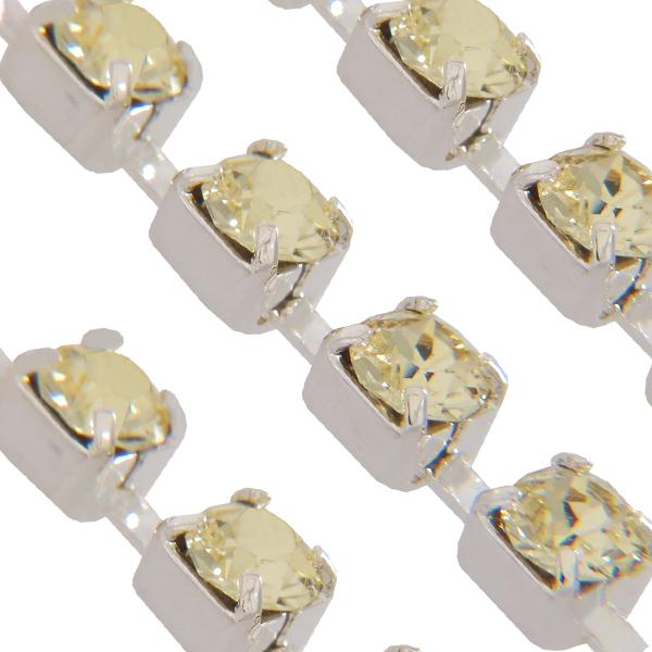 Swarovski 27104 Rhinestone Chain ss17 (pp32) Jonquil/Sterling Silver