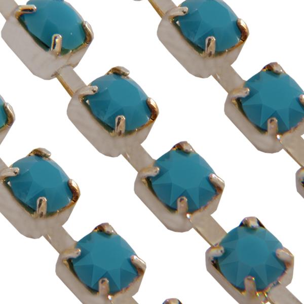 Swarovski 27104 Rhinestone Chain pp18 Turquoise/Sterling Silver