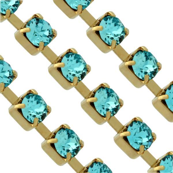 Swarovski 27104 Rhinestone Chain pp24 Light Turquoise/Gold
