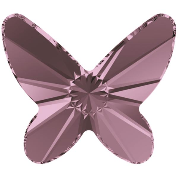 Swarovski 2854 Butterfly Flat Back Crystal Antique Pink 8mm