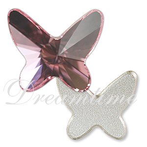 Swarovski 2854 Butterfly Flat Back Light Rose 8mm