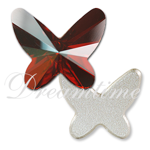 Swarovski 2854 Butterfly Flat Back Crystal Red Magma 8mm