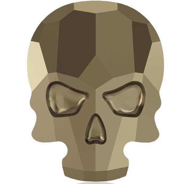 Swarovski 2856 Skull Flat Back Crystal Metallic Light Gold 10x7.5mm