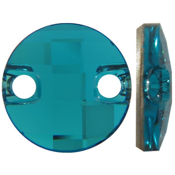 Swarovski 3220 Round Chessboard Sew-on Blue Zircon 14mm