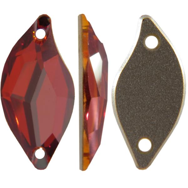 Swarovski 3254 Diamond Leaf Sew-on Crystal Red Magma 30x14mm