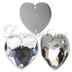 Swarovski 3285 Heart Shaped Sew-on Crystal 24mm