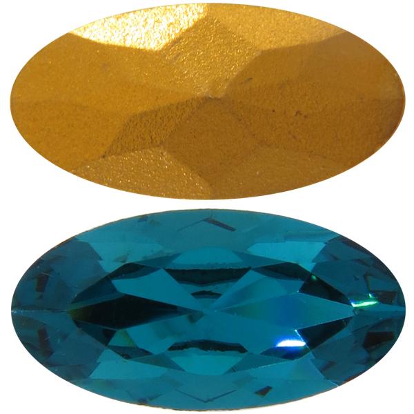 Swarovski 4123 Long Oval Fancy Stone Blue Zircon (Gold Foil) 16x8mm