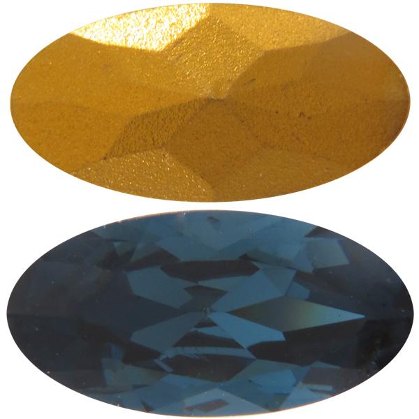 Swarovski 4123 Long Oval Fancy Stone Montana (Gold Foil) 16x8mm