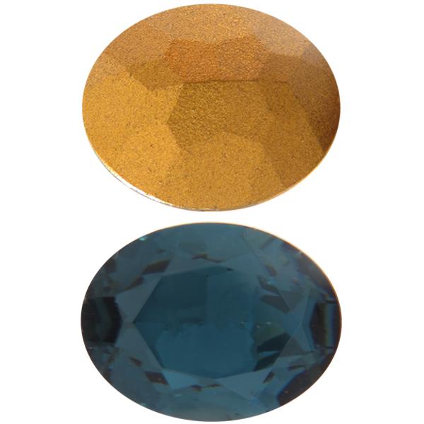 Swarovski 4140 Oval Fancy Stone Montana (Gold Foil) 16x11mm