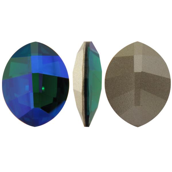 Swarovski 4224 Pure Leaf Fancy Stone Emerald Glacier Blue 23x18mm