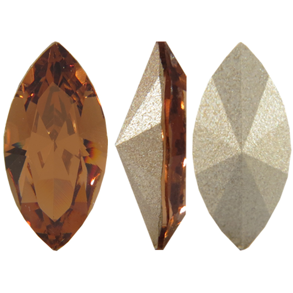 Swarovski 4228 Navette Fancy Stone Light Smoked Topaz 15x7mm