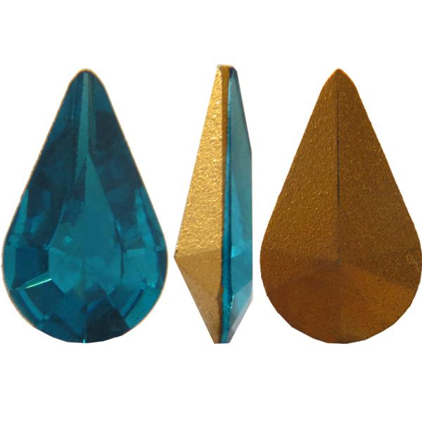Swarovski 4306 Pear Shaped Fancy Stone Blue Zircon (Gold Foil) 13x7.8mm