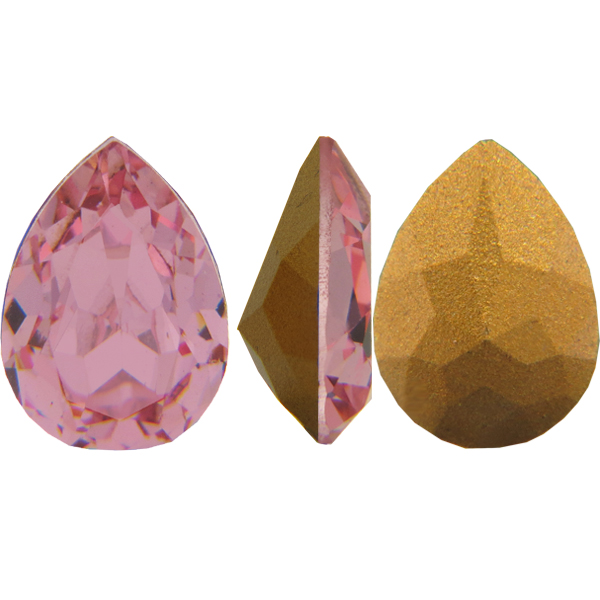 Swarovski Vintage 4320 Pear Shaped Fancy Stone Light Rose (Gold Foiled) 8x6mm