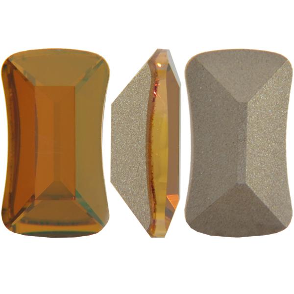 Swarovski 4505 Contour Baguette Fancy Stone Crystal Copper 14x8mm