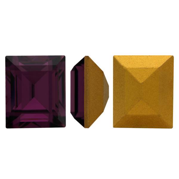 Swarovski 4510 Baguette Double Cut Fancy Stone Amethyst (Gold Foiled) 12x10mm