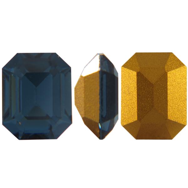 Swarovski 4610 Rectangle Octagon Fancy Stone Montana (Gold Foil) 10x8mm