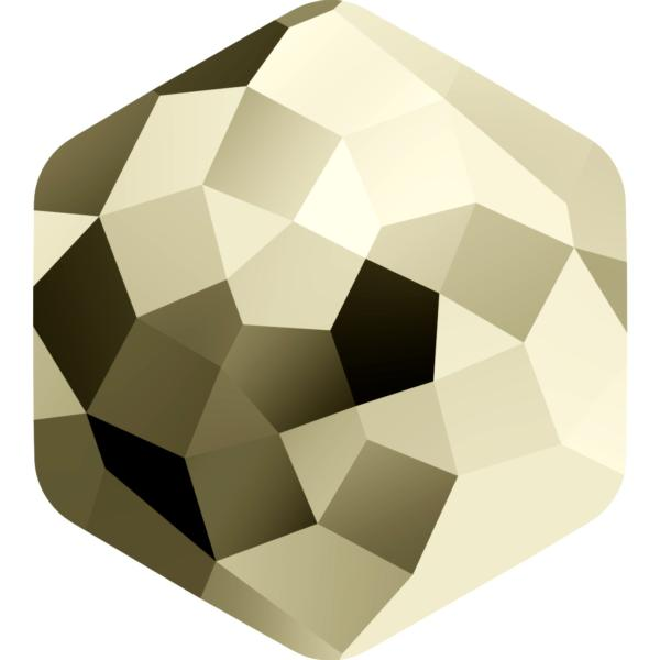 Swarovski 4683 Fantasy Hexagon Fancy Stone Crystal Metallic Light Gold 12x13.5mm