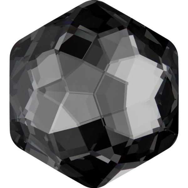 Swarovski 4683 Fantasy Hexagon Fancy Stone Crystal Silver Night 12x13.5mm