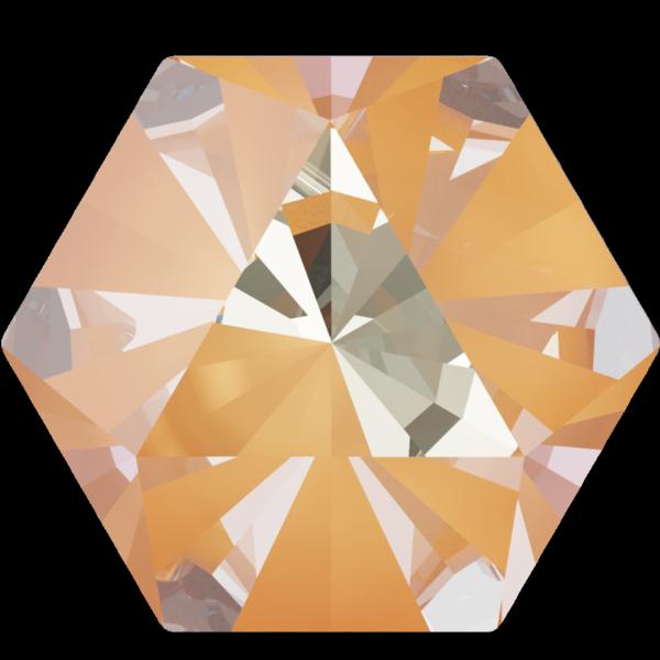 Swarovski 4699 Kaleidoscope Hexagon Fancy Stone Crystal Peach DeLite 9.4x10.8mm