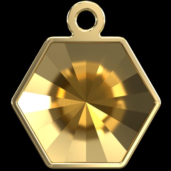 Swarovski 4699/J Kaleidoscope Hexagon Fancy Stone Setting Gold 14x16mm