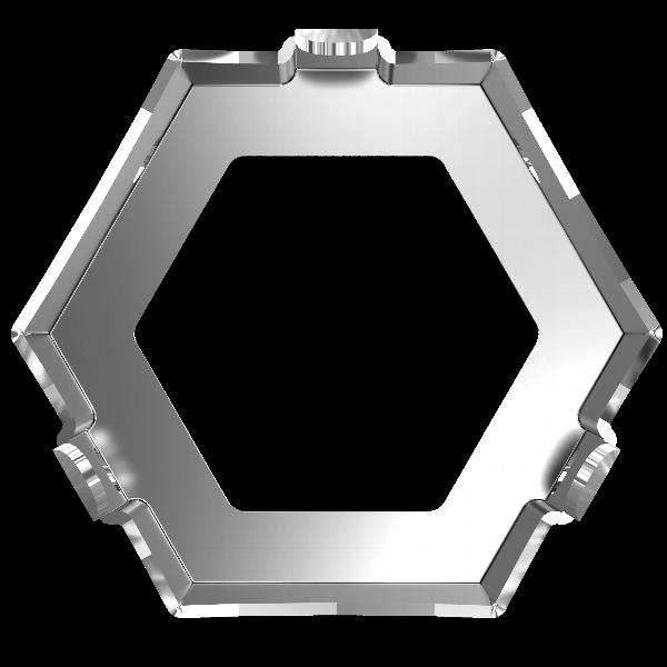 Swarovski 4699/S Kaleidoscope Hexagon Fancy Stone Sew-On Setting Rhodium 9.4x10.8mm