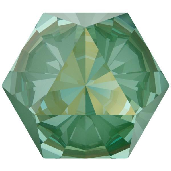 Swarovski 4699 Kaleidoscope Hexagon Fancy Stone Crystal Silky Sage DeLite 9.4x10.8mm