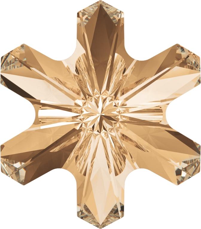 Swarovski 4747 Rivoli Sonwflake Fancy Stone Crystal Golden Shadow 5mm