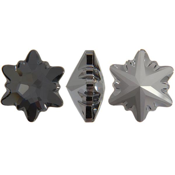 Swarovski 4753 Edelweiss Fancy Stone Crystal Silver Night 18mm