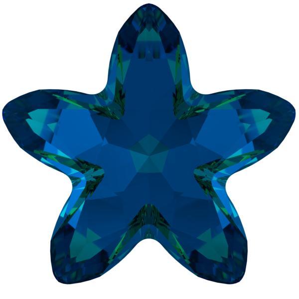 Swarovski 4754 Starbloom Fancy Stone Crystal Bermuda Blue 13x13.5mm