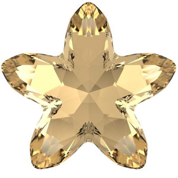 Swarovski 4754 Starbloom Fancy Stone Crystal Golden Shadow 13x13.5mm