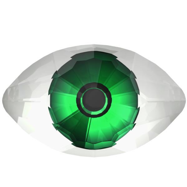 Swarovski 4775 Eye Fancy Stone Crystal Comet Argent Light & Green 18x10.5mm