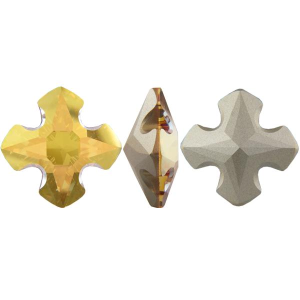 Swarovski 4784 Greek Cross Fancy Stone Crystal Metallic Sunshine 14mm