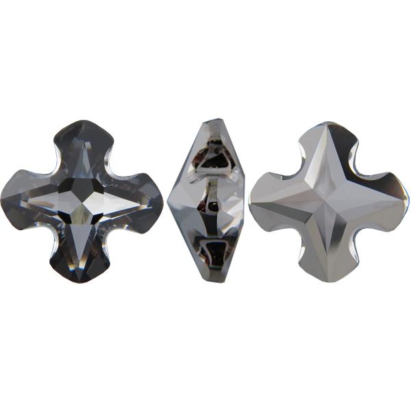 Swarovski 4784 Greek Cross Fancy Stone Crystal Silver Night (Unfoiled) 8mm