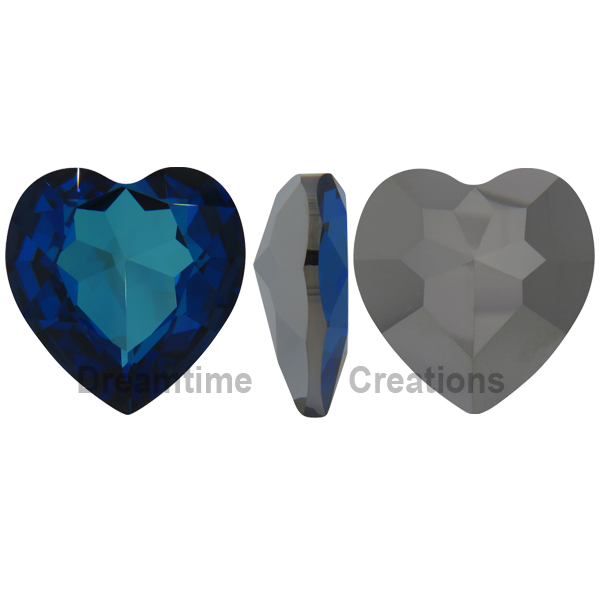 Swarovski 4827 Large Heart Shaped Fancy Stone Crystal Bermuda Blue 28mm