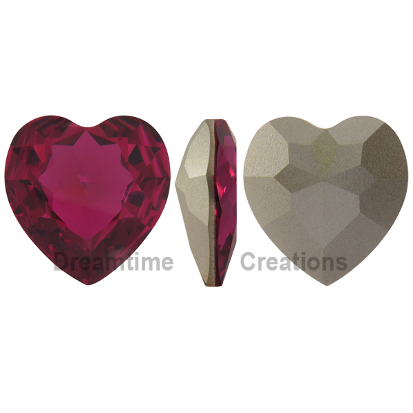 Swarovski 4827 Large Heart Shaped Fancy Stone Fuchsia (Unfoiled) 28mm