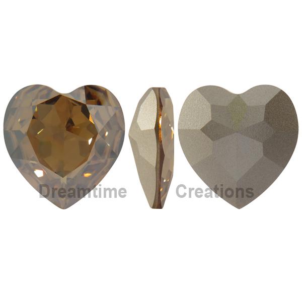 Swarovski 4827 Large Heart Shaped Fancy Stone Crystal Golden Shadow 28mm
