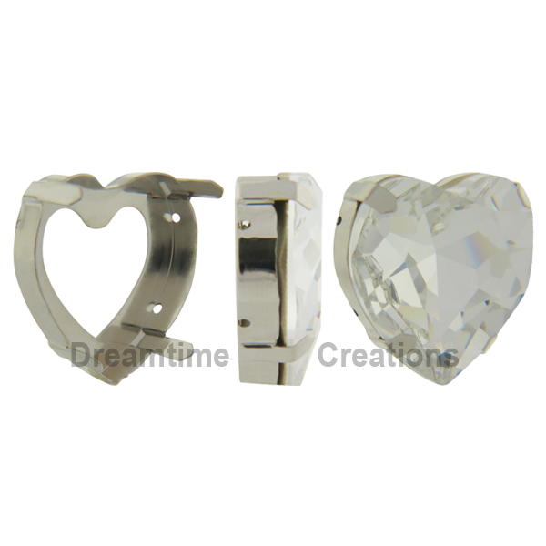 Swarovski 4827S Setting for Large Heart Shaped Fancy Stone Silver 28mm
