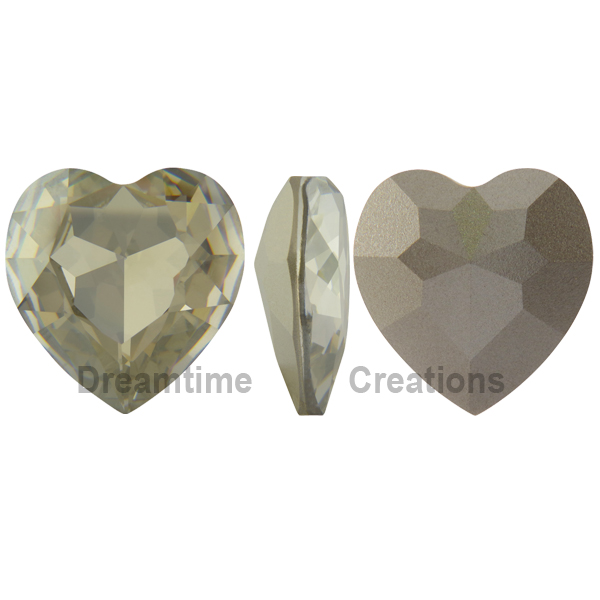 Swarovski 4827 Large Heart Shaped Fancy Stone Crystal Silver Shade 28mm