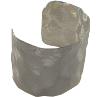 50 mm Wide Hammered Cuff Bracelet in Silver