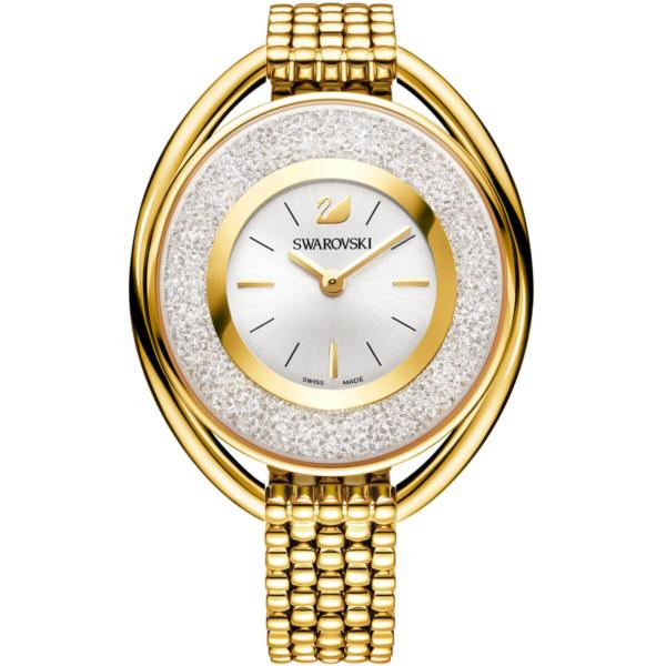 Swarovski Collections Crystalline Oval Watch, Metal Bracelet, White, Gold-Tone PVD