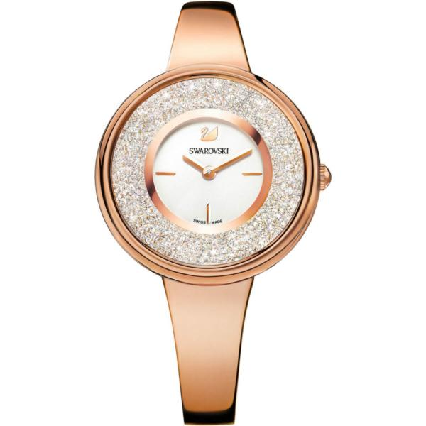 Swarovski Collections Crystalline Pure Watch, Metal Bracelet, White, Rose-Gold Tone PVD