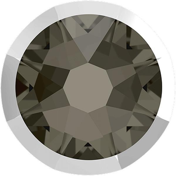 Swarovski 2088/I Rimmed XIRIUS Rose Flat Back Black Diamond with Light Chrome Rim SS20